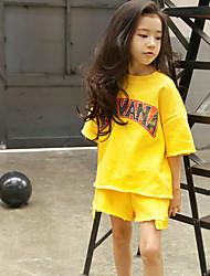 Девочки Наборы Хлопок Однотонный Лето Набор одежды