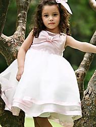 Princess Knee Length Flower Girl Dress - Satin Jewel with Satin Bow Sash / Ribbon Ruffles