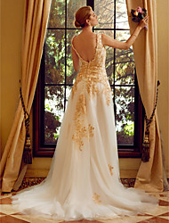2017 LAN TING BRIDE A-line Wedding Dress - Floral Lace Open Back Court Train Straps Lace Tulle with Appliques Buttons