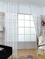 W100cm*L250cm One Pannel Curtains Leaf Embroidery Sheer Shade Windows Curtain