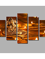 Newly Designed Home Decoration Canvas Painting Buddhism Golden Statue Livingroom Wall Decoration Printed Poster 5panels Without Frame