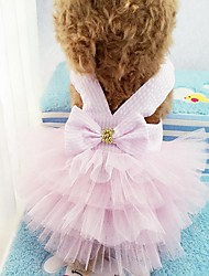 Cat Dog Tuxedo Dress Dog Clothes Party Casual/Daily Wedding Stripe Blushing Pink Blue Green Ruby
