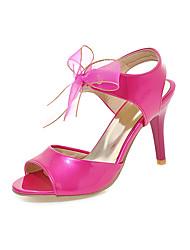 Damen Sandalen Pumps Lackleder Sommer Hochzeit Kleid Party & Festivität Pumps Schleife Stöckelabsatz Purpur Pfirsich Rot Rosa 7,5 - 9,5 cm