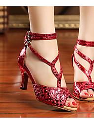 Damen Tanz-Turnschuh Echtes Leder PU Sandalen Sneakers Innen Blockabsatz Gold Silber Rot 5 - 6,8 cm