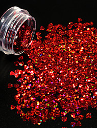 1g/bottle Hot Fashion 3D Glitter Sequins Laser Beautiful Red Shining Heart Shape Design Flash Paillette Nail Salon DIY Beautiful Decoration 1200W