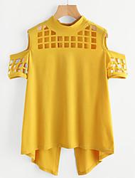 Women's Casual Street Street chic Summer Blouse,Solid Round Neck Short Sleeve Chiffon Medium