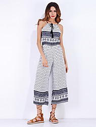 Women's High Rise Going out Casual/Daily Jumpsuits,Gift Straight Wide Leg Check Pattern Fashion Plaid/Check Floral / Botanical Summer