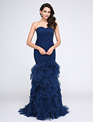 Fit & Flare Sweetheart Sweep / Brush Train Tulle Prom Formal Evening Dress with Criss Cross Ruching by TS Couture®