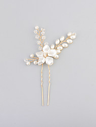 Rhinestone Imitation Pearl Headpiece-Wedding Hair Pin 1 Piece