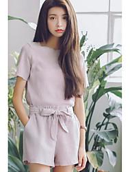 Damen Solide Zeitgenössisch Alltag T-Shirt-Ärmel Hose Anzüge,Rundhalsausschnitt Sommer Kurzarm