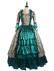 Costume de Soirée Gothique Robe Motif Cosplay Vêtrements Lolita Vert Imprimé Manches Longues Cheville Robe Genouillère PourTissu
