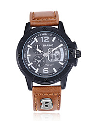 Fashion Men's Round Silicone Watch Movement Type Wrist Watch Cool Unique Waterproof Leather Watch 3 Color