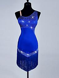 Devrions-nous des robes de danse latine cristallines d'organza spandex féminin sans manches