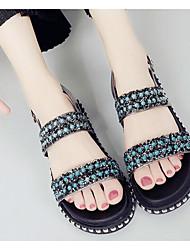 Mujer Sandalias Confort PU Verano Casual Confort Negro Plata 5 - 7 cms