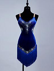 Devrions-nous des robes de danse latine féminine, des cristaux d'organza à l'élasthanne / strass