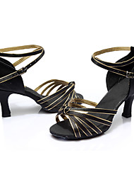 Women's Latin Silk Sandals Indoor Customized Heel Black/Gold Customizable