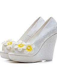 Women's Heels Flower Girl Shoes Spring Summer Fall Winter Customized Materials Wedding Dress Party & Evening Applique Wedge Heel White