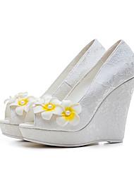 Femme Chaussures à Talons Escarpin Basique Dentelle PUT Printemps Eté Mariage Fleur Talon Compensé Blanc 10 à 12 cm