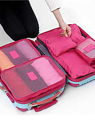 6PCS Travel Bag Packing Cubes Luggage Organizer / Packing Organizer Waterproof Dust Proof Durable Foldable for Travel Storage Oxford Cloth