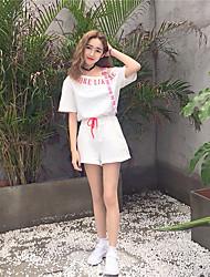 Mujer Casual Encantador Diario Casual Noche Primavera Verano T-Shirt Pantalón Trajes,Escote Redondo Un Color Estampado Manga CortaEstilo
