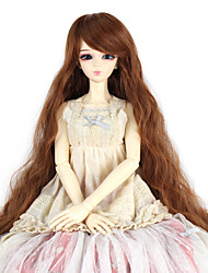 Synthetic Doll Accessories Long Kinky Curly Light Brown Color for 1/3 1/4 Bjd SD DZ MSD Doll Costume Wig Not for Human Adult