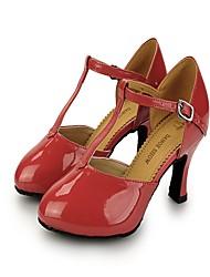Damen Latin Lackleder Absätze Sneakers Praxis Verschlussschnalle Stöckelabsatz Gelb Fuchsia Pink Rosa Khaki 5 - 6,8 cm