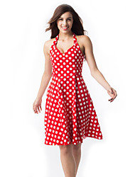 Women's Hepburn Style Mini Dress Halter Neck Polka Dots A Line Dress