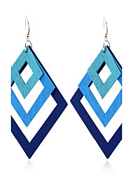 Women's Dangle Earrings Jewelry Euramerican Simple Style Double-layer Wood Geometric Jewelry For Gift Casual Outdoor clothing