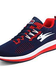Men's Sneakers Comfort Spring Fall Tulle Casual Lace-up Flat Heel Black Gray Black/Red Orange/Black 2in-2 3/4in