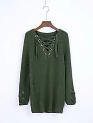 Для женщин На выход На каждый день Простое Обычный Пуловер Однотонный,V-образный вырез Длинный рукав Хлопок Акрил Весна ОсеньТонкая