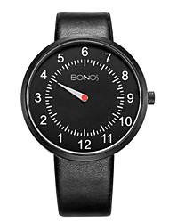 Men's Fashion Watch Quartz Genuine Leather Band Black White