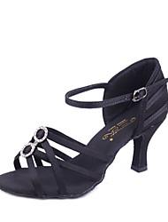 Damen Latin Seide Sandalen Innen Keilabsatz Schwarz Beige Braun Keine Maßfertigung möglich