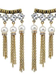 Women's Drop Earrings Rhinestone Imitation PearlBasic Circular Unique Design Tassel Rhinestones Pearl Geometric Friendship Hypoallergenic