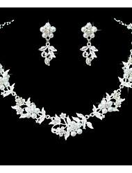 Women's Jewelry Set Rhinestone Floral Imitation Pearl Rhinestone Alloy Flower For Wedding Party Special Occasion Anniversary Birthday