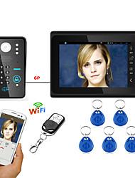 7inch проводной / беспроводной wifi rfid пароль видео домофон домофон домофон система upport удаленное приложение разблокировка записи