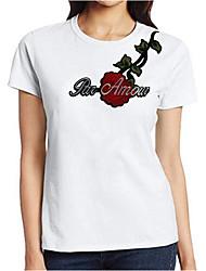 T-shirt Da donna Casual Semplice Ricamato Rotonda Altro Manica corta