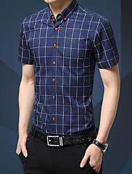 Masculino Camisa Social Casual Trabalho Simples Sólido Listrado Algodão Outros Colarinho de Camisa Manga Curta