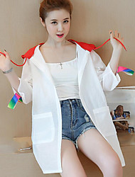 Women's Daily Casual Contemporary Summer Trench Coat,Color Block Hooded Long Sleeve Long Polyester