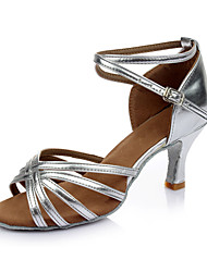 Women's Latin Leatherette Sandals Indoor Customized Heel Silver Customizable