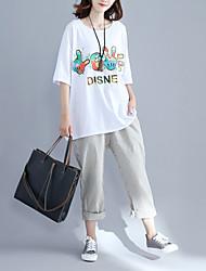 Damen Wort / Satz Einfach Street Schick Alltag Normal T-shirt,Rundhalsausschnitt Frühling Sommer Halbe Ärmel Baumwollmischung