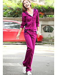 Sweat à capuche Pantalon Costumes Femme,Couleur Pleine Décontracté / Quotidien simple Printemps Automne Manches longues