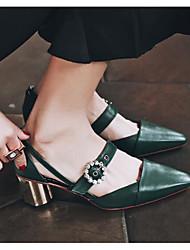 Damen Schuhe Echtes Leder PU Frühling Pumps High Heels Für Normal Schwarz Beige Grün