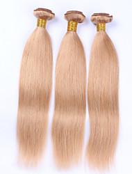 Beata Hair 100g Bundle Straight Remy Hair Wefts Straight Caramel Blonde/#27 Hair Extensions Human Hair 100% Colored Peruvian Virgin Human Hair Weave