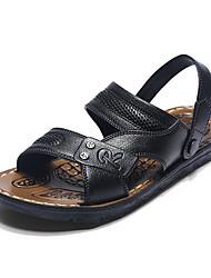 Men's Sandals Comfort Leather Summer Fall Casual Outdoor Comfort Button Split Joint Flat Heel Brown Black Flat