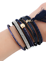 Femme Chaînes & Bracelets Charmes pour Bracelets Bracelets en cuir Strass Mode Vintage Gothique Vannerie Alliage de métal Bijoux Pour