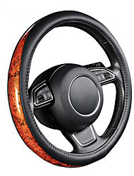 AUTOYOUTH Car Steering Wheel Cover Small Black Lychee Pattern Crescent Wood Grain Universal 38cm /15 inch Car Styling