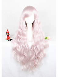 Long Curly Light Pink Lolita Wig For Girls 32inch Free Shipping Synthetic Anime Cosplay Party Hair Wig Heat Resistant Wig