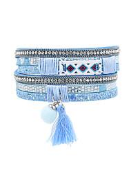 Fashion Women Ethnic Fur Ball Rhinestone Magnet Leather Wrap Bracelet