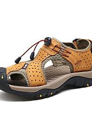 Herren Sandalen Komfort Nappaleder Sommer Wasser-Schuhe Komfort Klettverschluss Flacher Absatz Braun Blau Khaki Flach