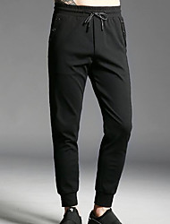 Men's Mid Rise High Elasticity Straight Pants,Active Straight Solid